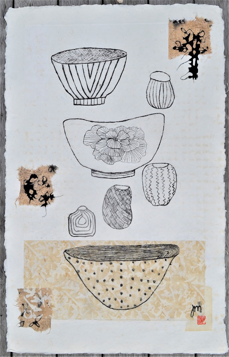 Bowls & A Few Pots Dry point, Collage & Chine Colle on handmade paper Framed