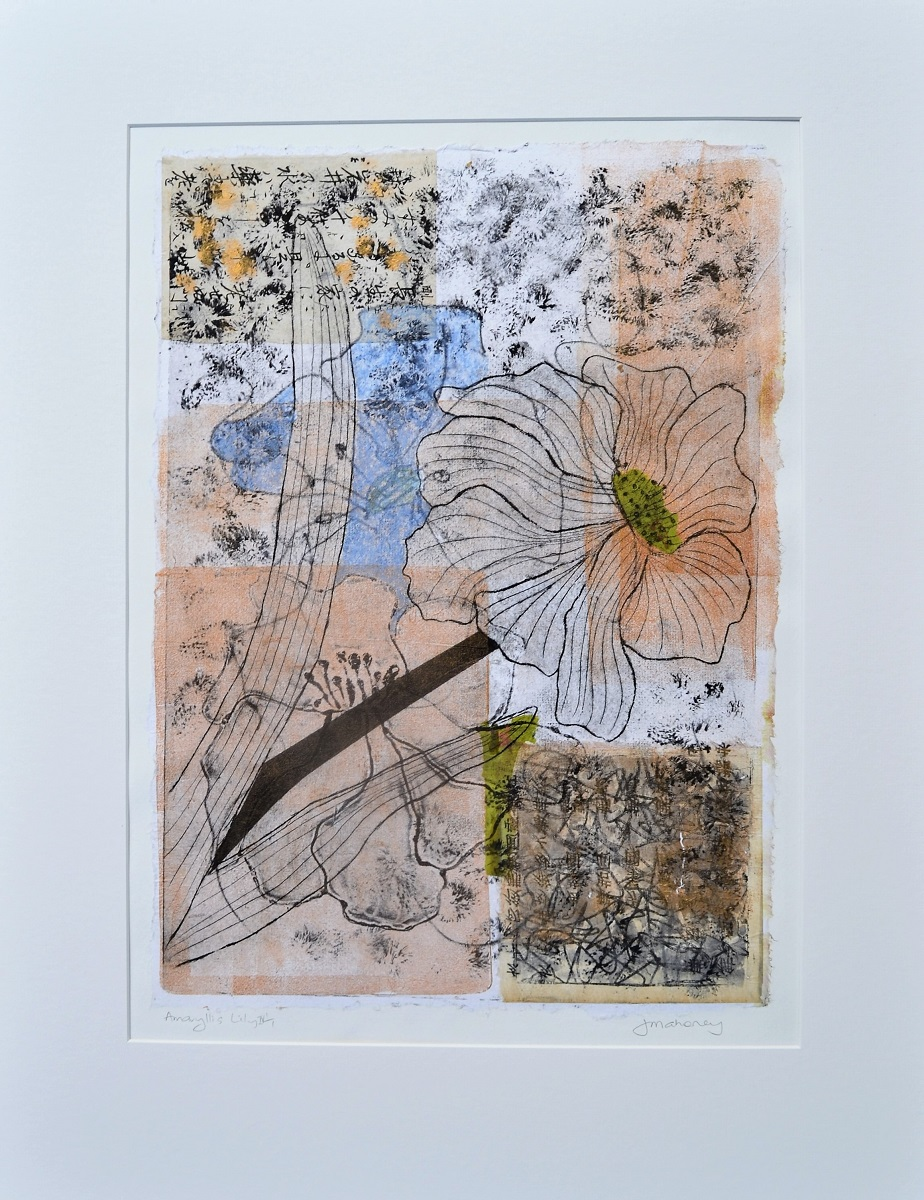 Amaryllis Lilies VE 1/1 Dry point print with Mixed Media Framed $650