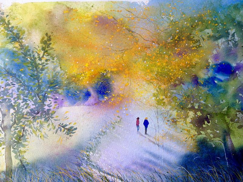 Autumn Stroll 640x570 Framed watercolour $850