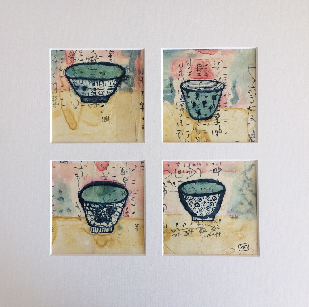 Four Of A Kind Watercolour on Yupo Print Framed
