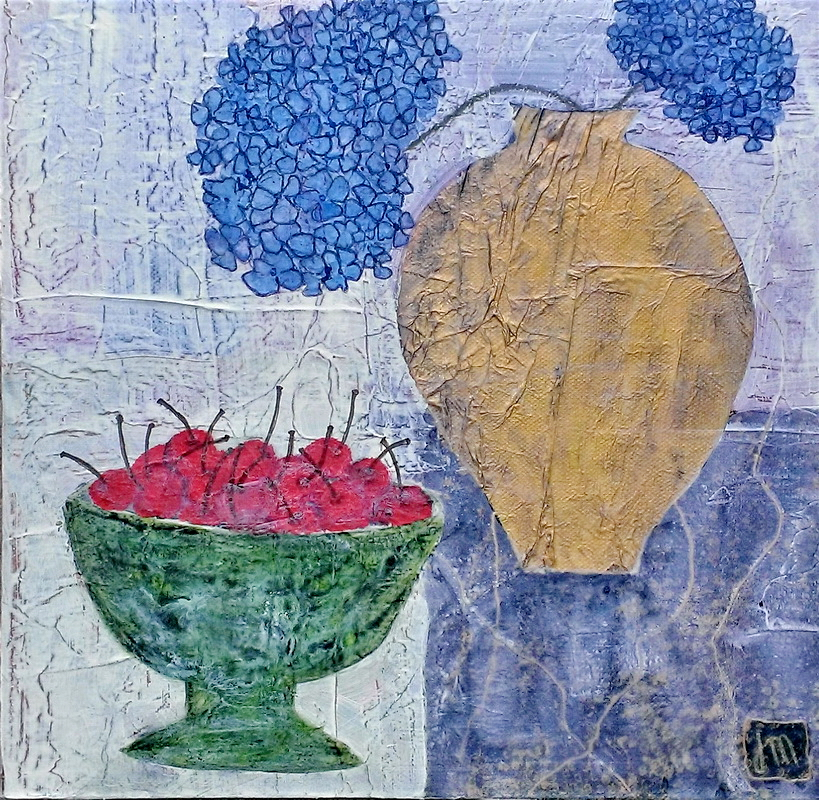 <strong>Hydrangeas & A Bowl of Cherries<strong> Mixed Media on canvas 300mm x 300mm x 35mm $250