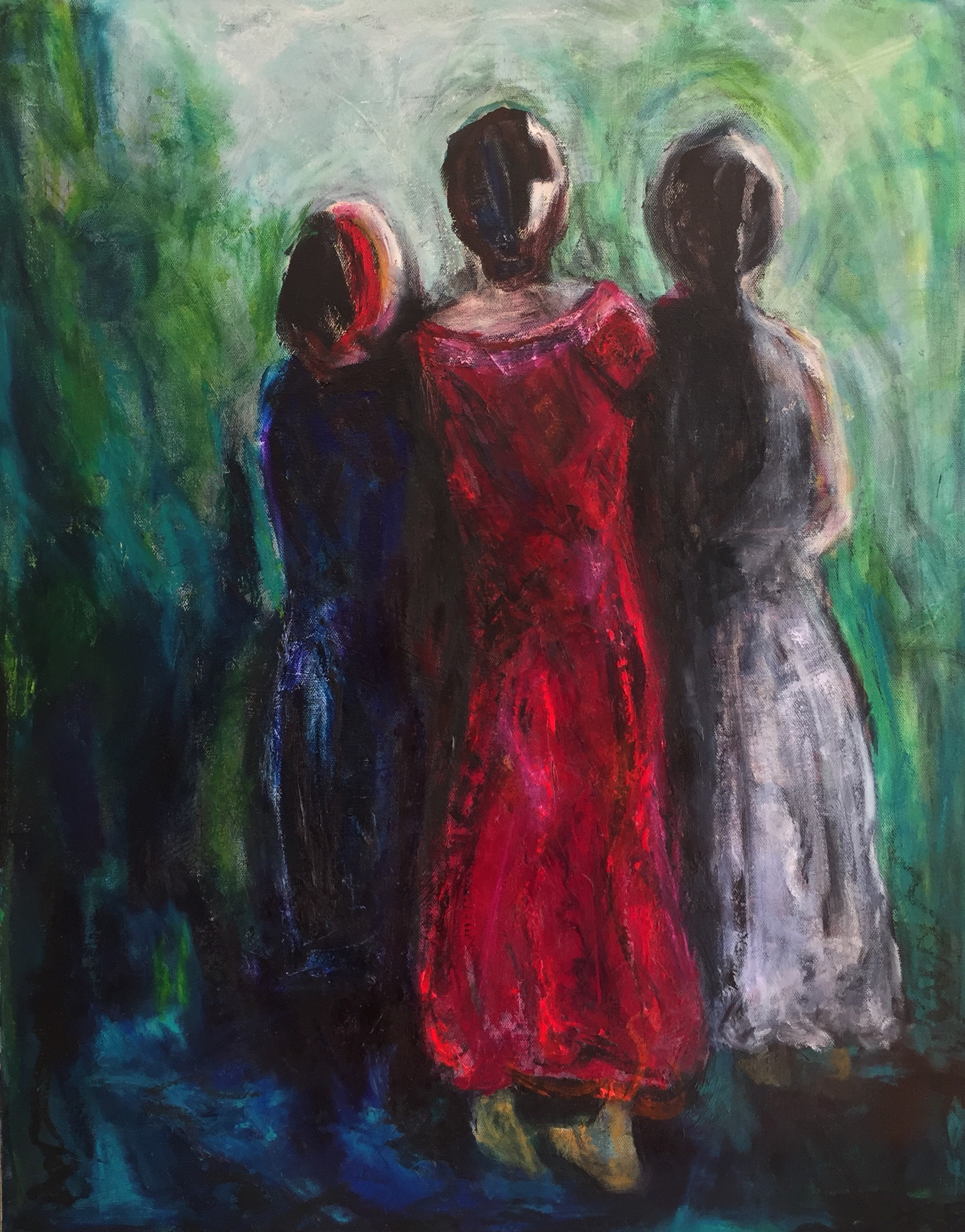 The Acolytes Acrylic and oil sticks on canvas 500x700mm $595