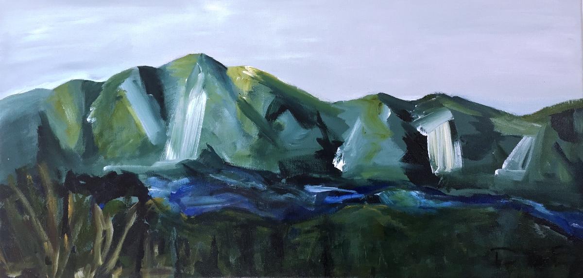 Kauaeranga River  Acrylic on canvas 760x380mm $450 SOLD