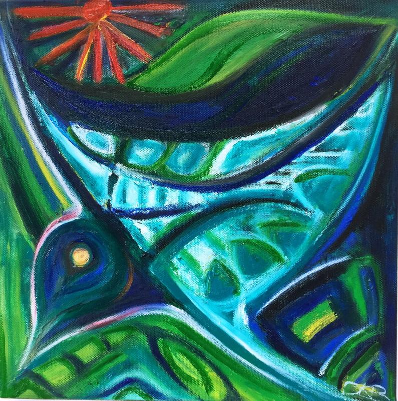 Kereru Mixed media – acrylic and oil sticks on canvas  310x310 $195