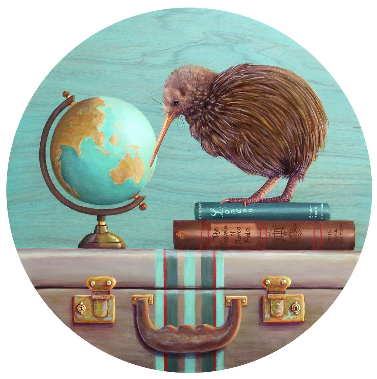 Kiwi...The Intrepid Traveller  600mm acrylic on plywood board 