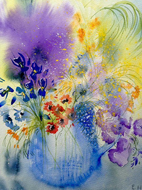 Blue Vase 420 x90 Unframed watercolour $150
