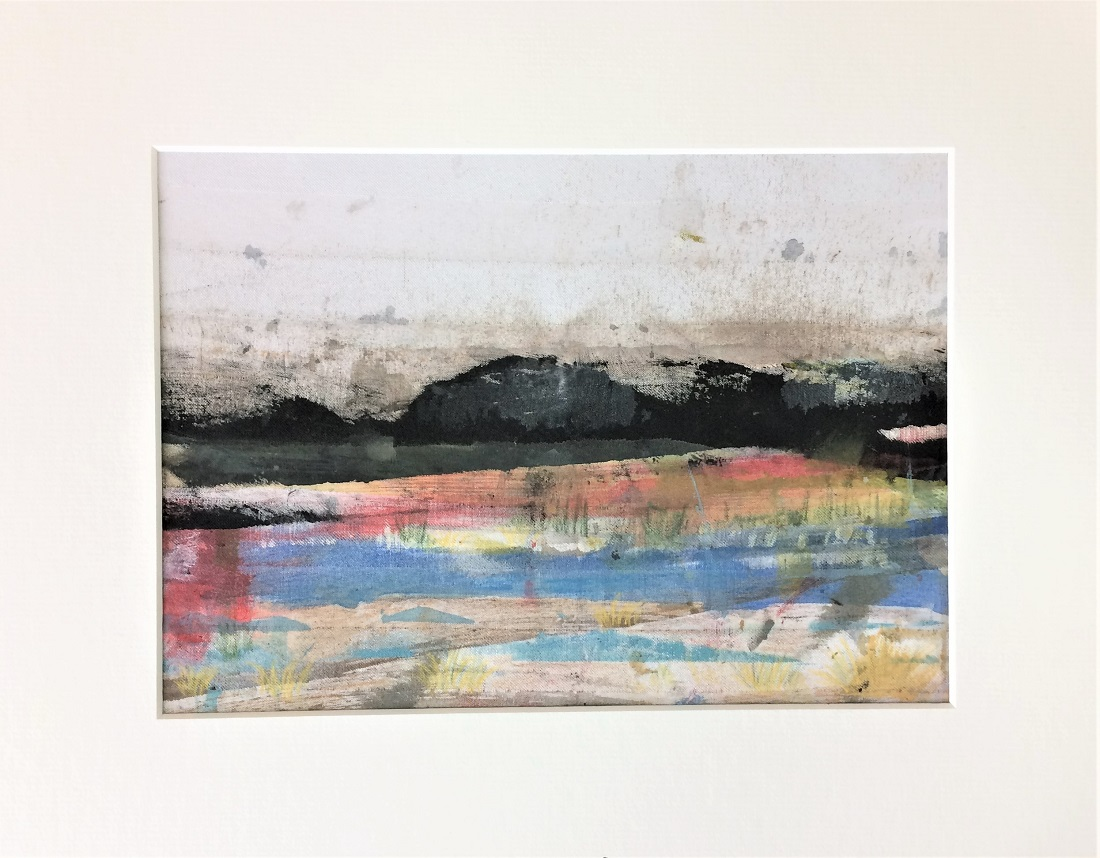 As Evening Draws In Acrylics & pencil on fabric 320mm H x 390mm W - Framed