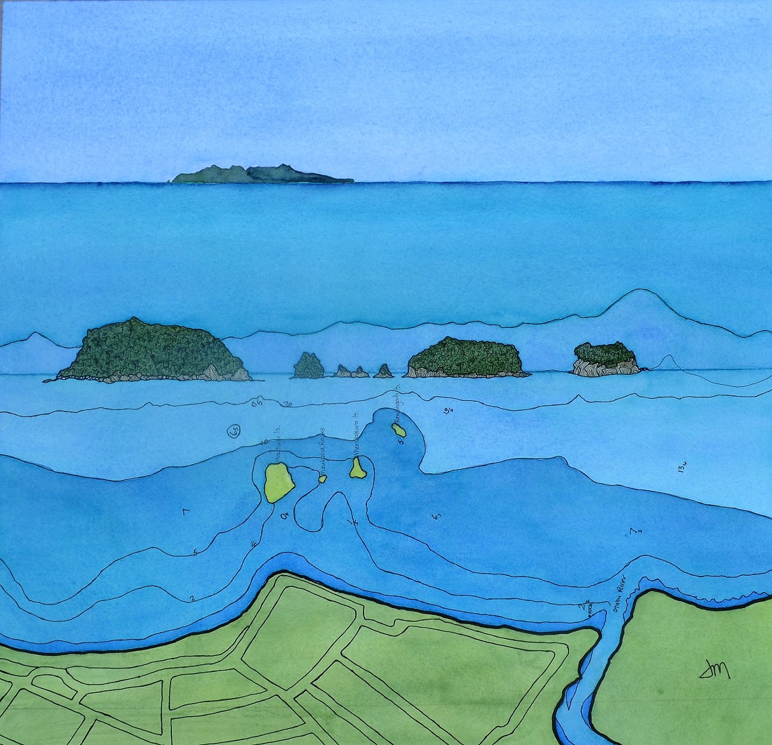 Whangamata Islands and Mayor Watercolour and Inks $890         SOLD