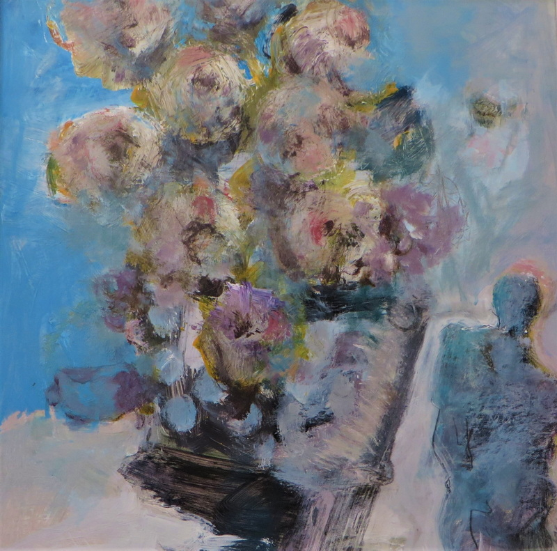 Peonies with Blue Sculpture