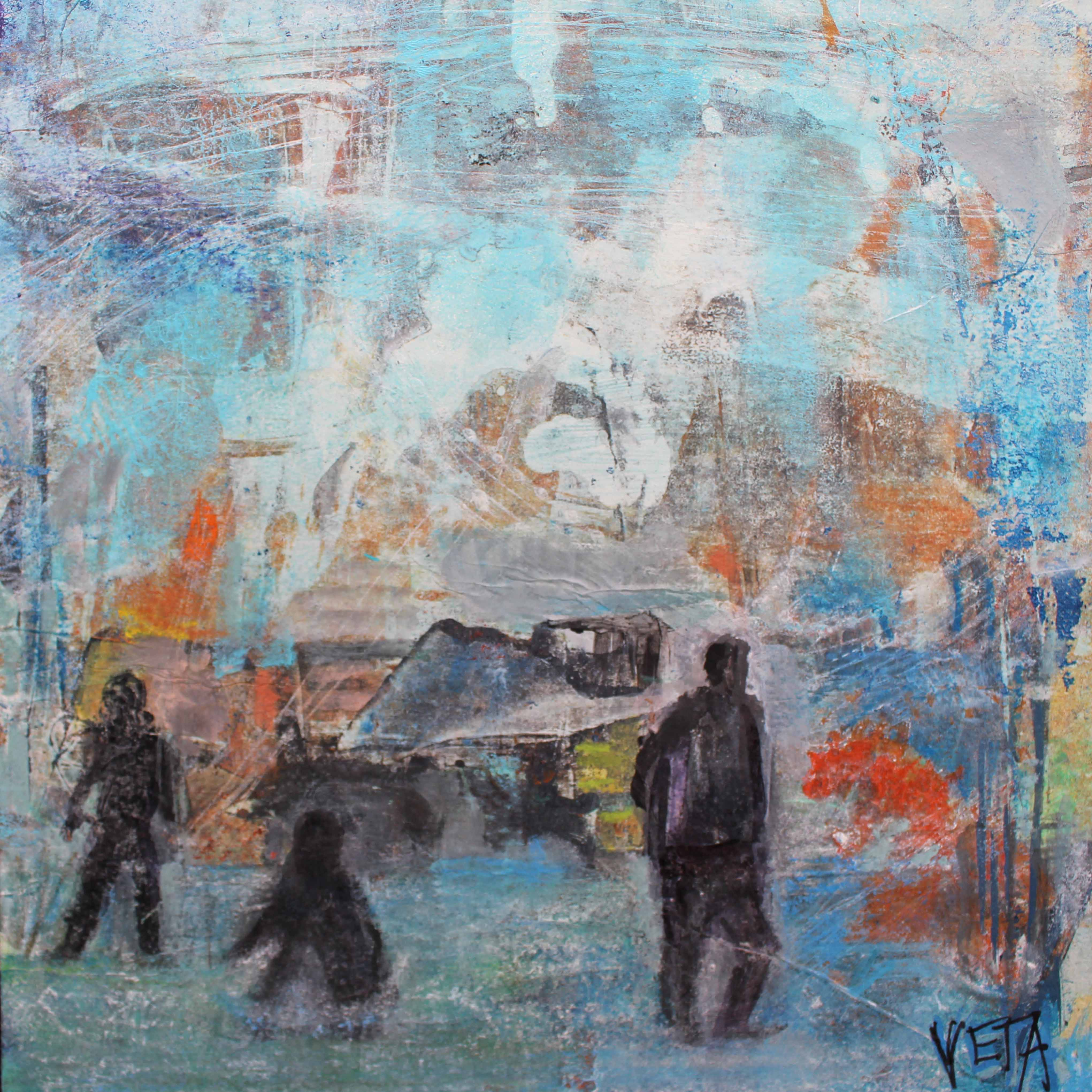 Places and People 1  185 x 185 mm Acrylic on card - framed $ 160