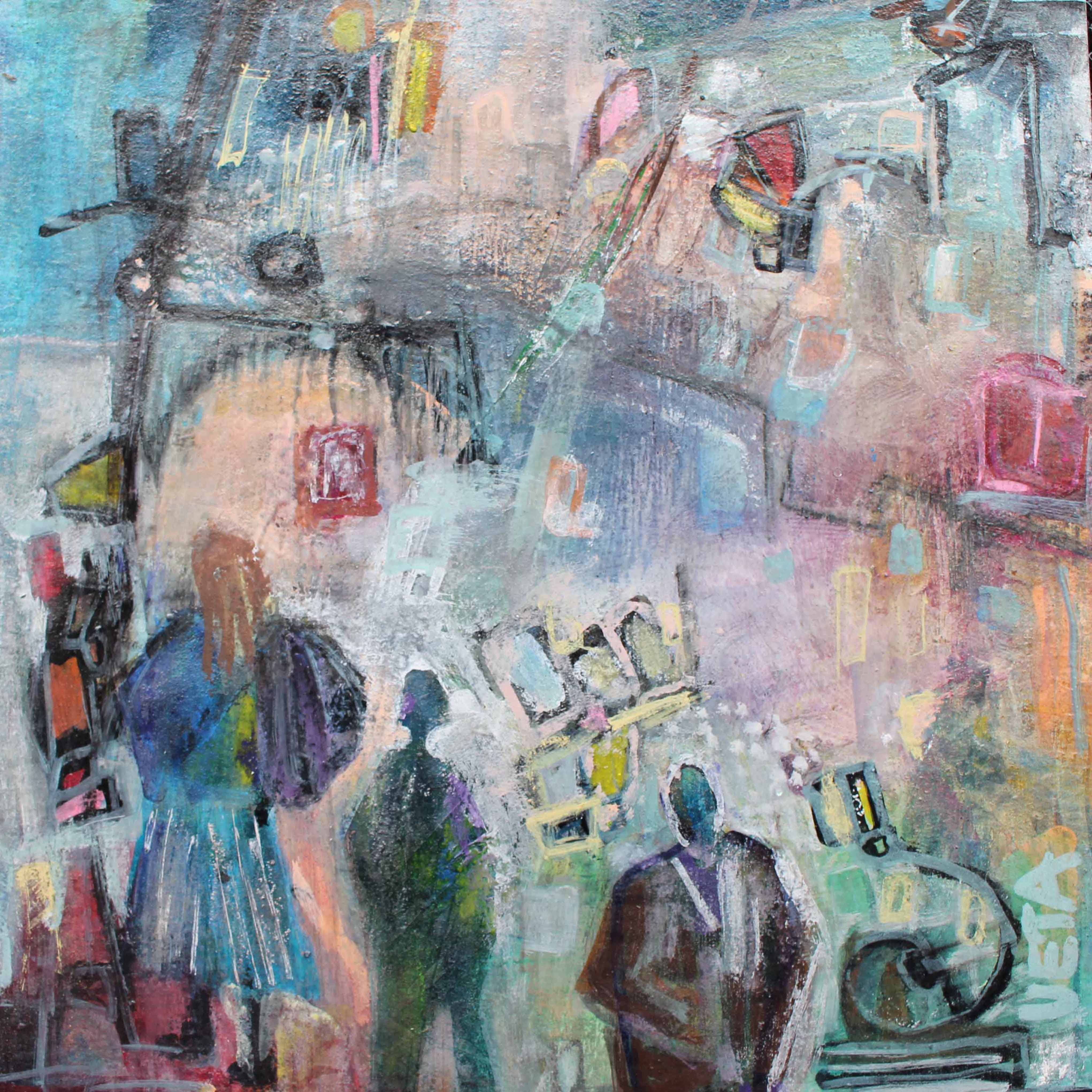 Places and People 3  185 x 185 mm Acrylic on card - framed $ 160