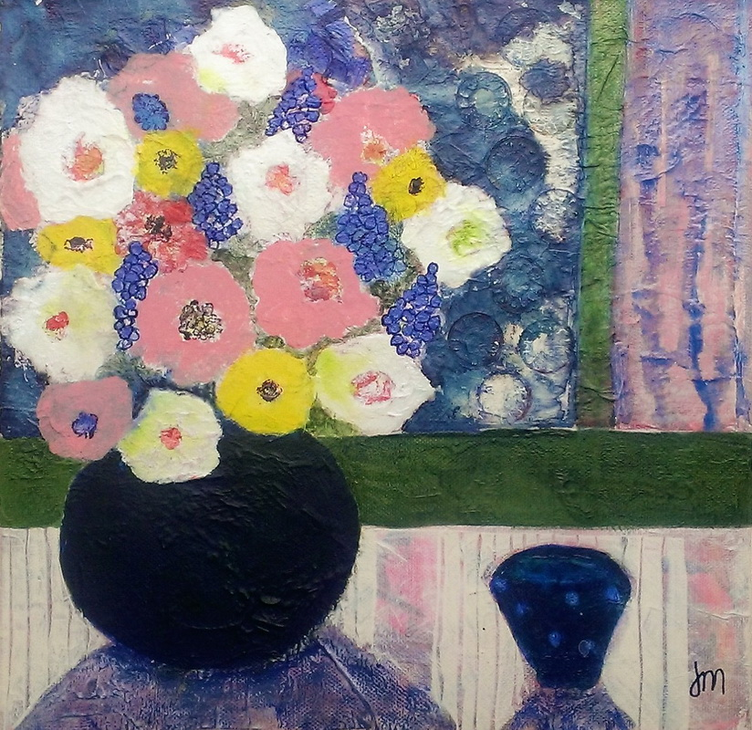 Ranunculas and Anenomes & a Little Blue Bowl 