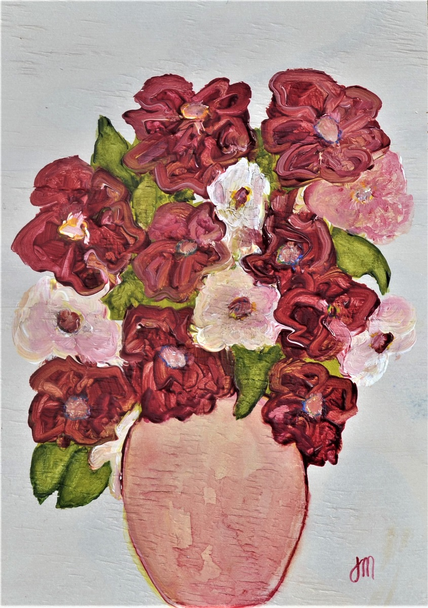 <strong>Red Camellias<strong> Mixed Media on Ply Framed 350mm H x 240mm  W in a natural tray frame $350  SOLD