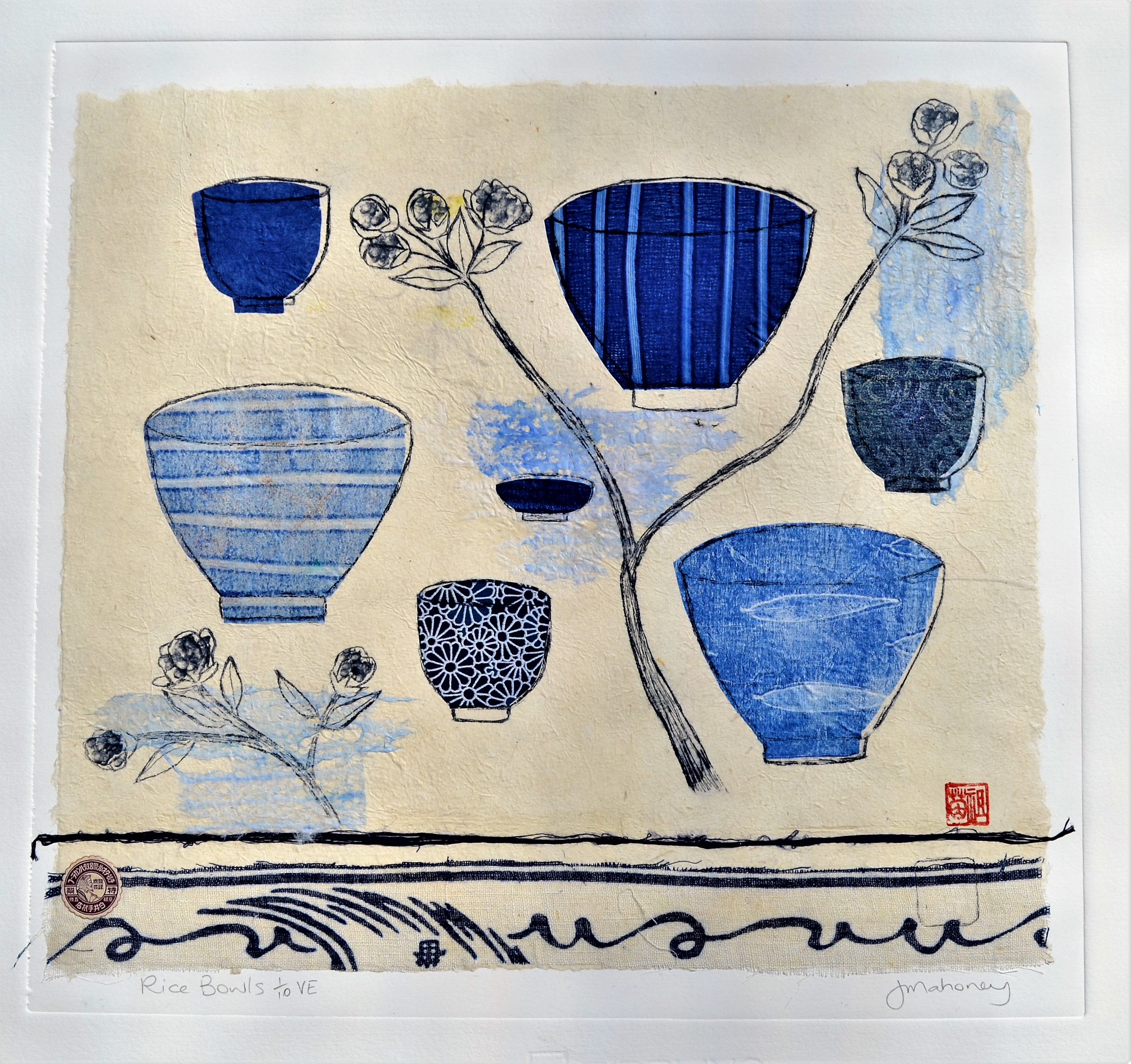 Rice Bowls 1/10 VE Dry Point & Chine Colle Print Framed 600 mm W x 590 mm H