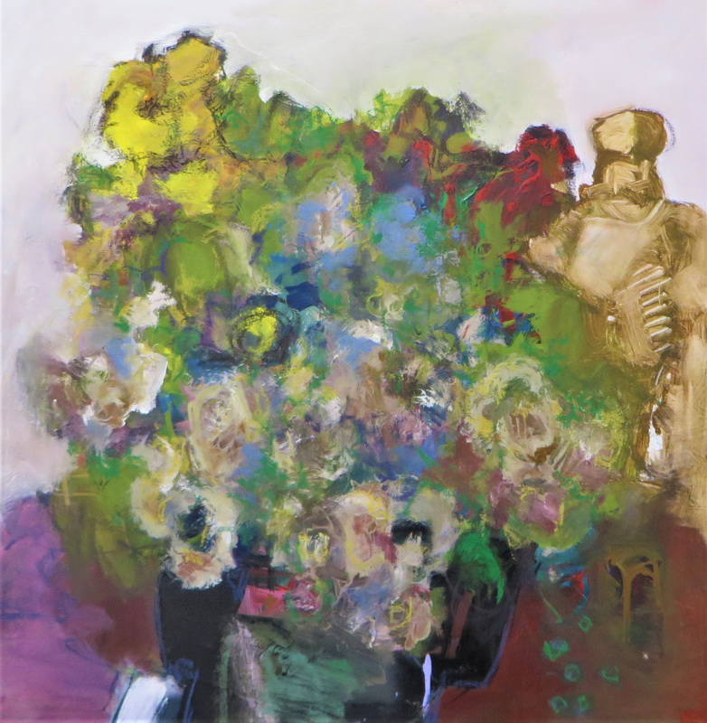 Statue with Flower Arrangement