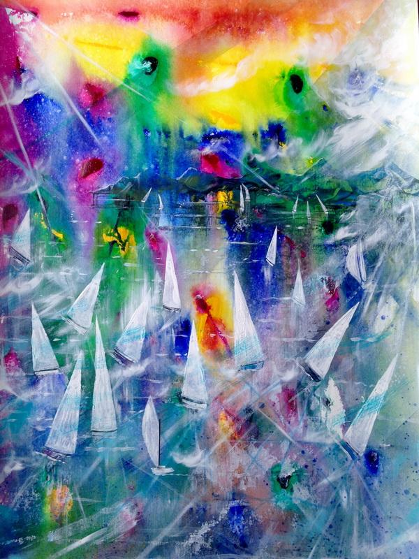 Sunset Regatta 720x570 Framed acrylic on paper $950