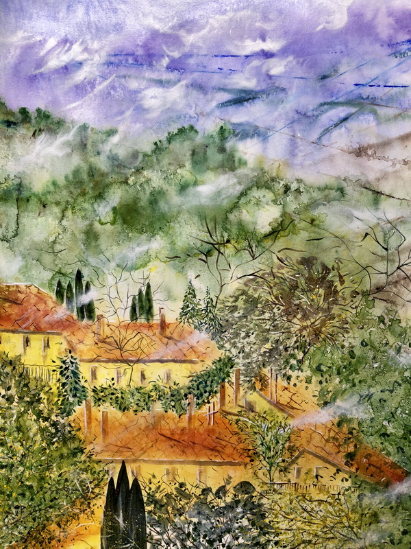 Tuscan Valey acrylic on paper