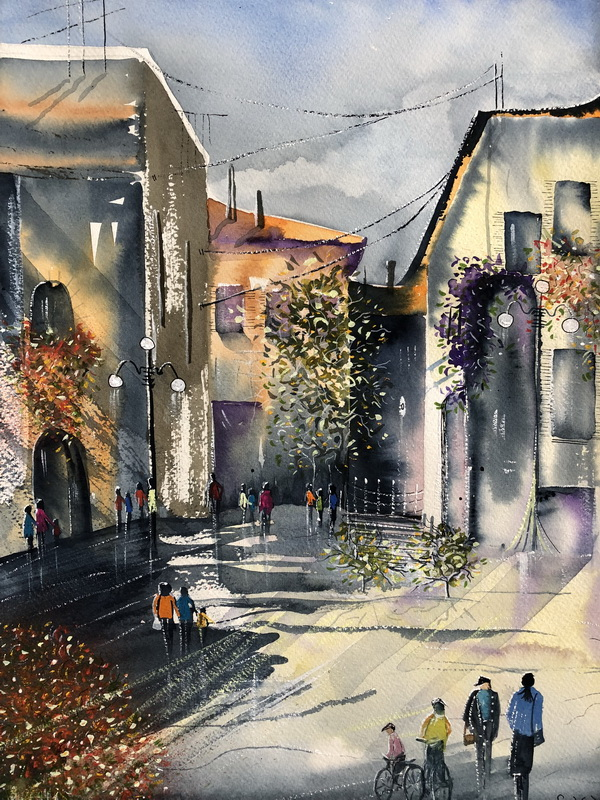 Umbrian Afternoon watercolour
