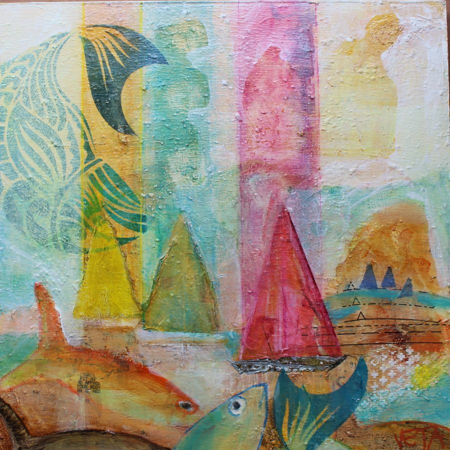 Sails and Tails 400x400 Mixed Media on Hardboard $ 520