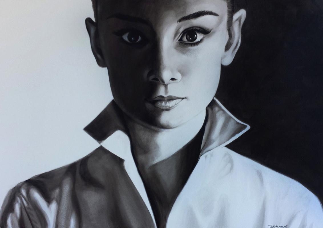 Audrey 950mm x 650mm acrylic on canvas framed black frame $700