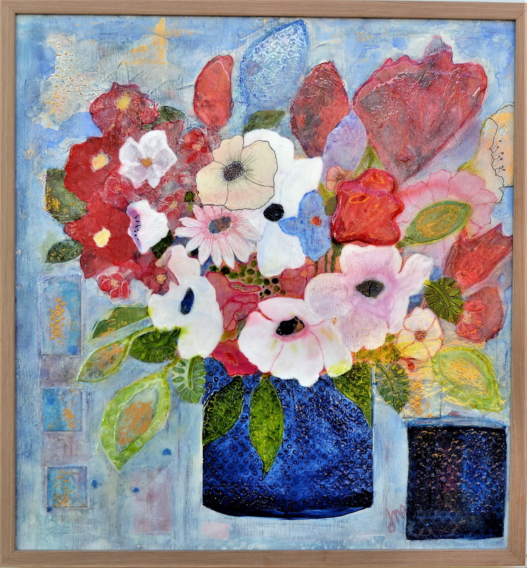 A Blue Pair With Flowers