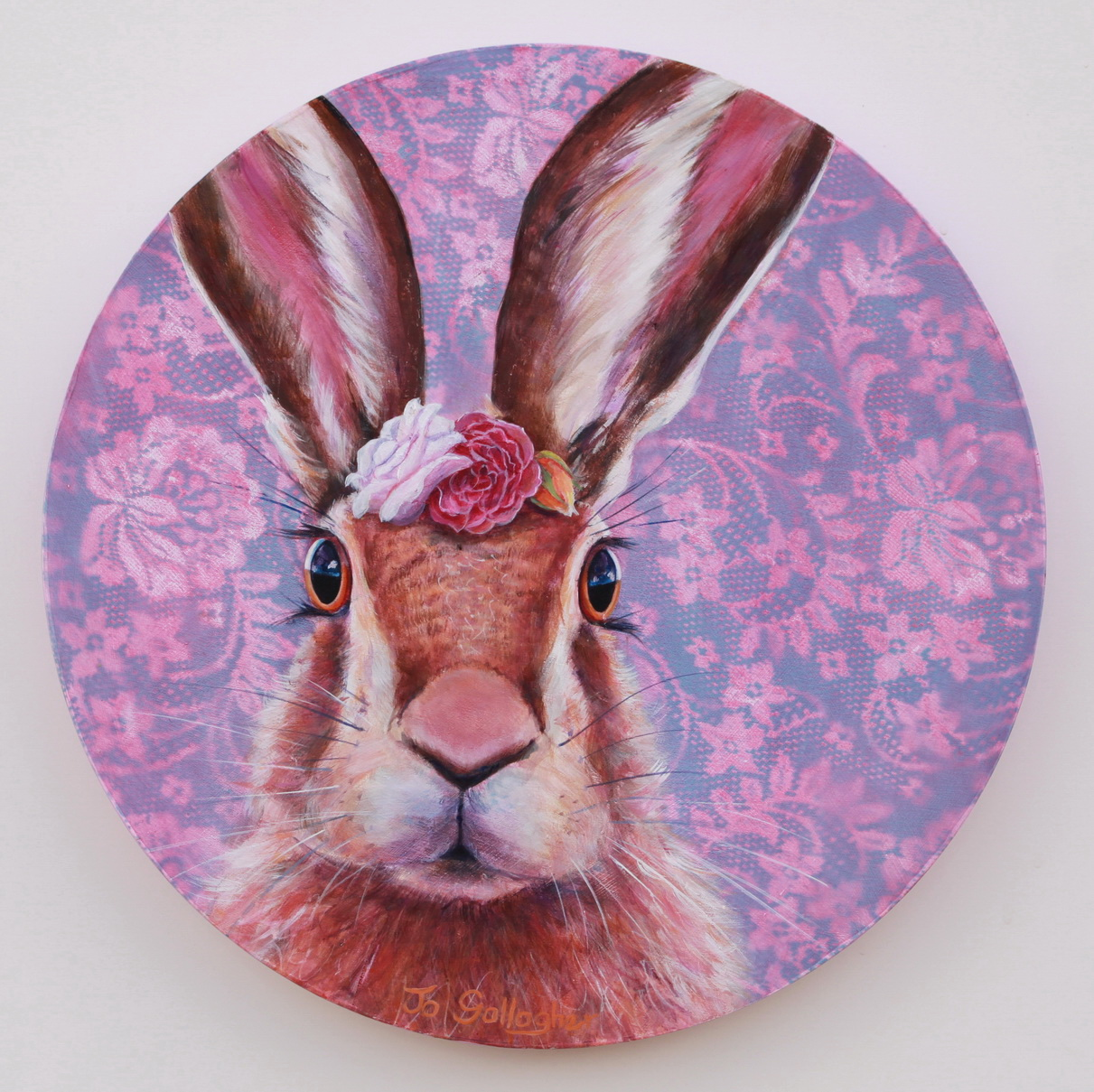 Flowers in my Hare 400mm acrylic on plywood board SOLD