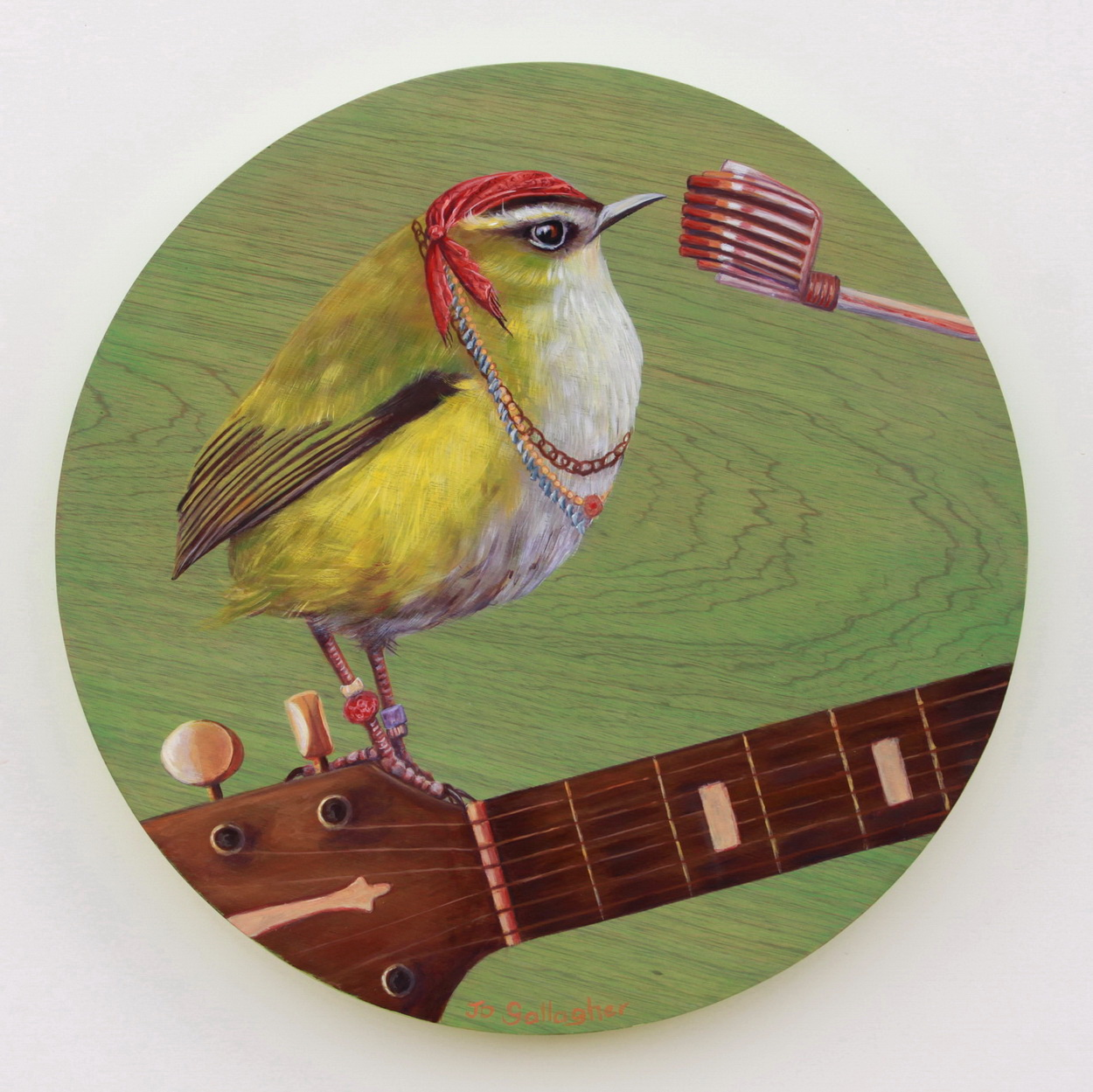 The Rock Wren 400mm acrylic on plywood board SOLD