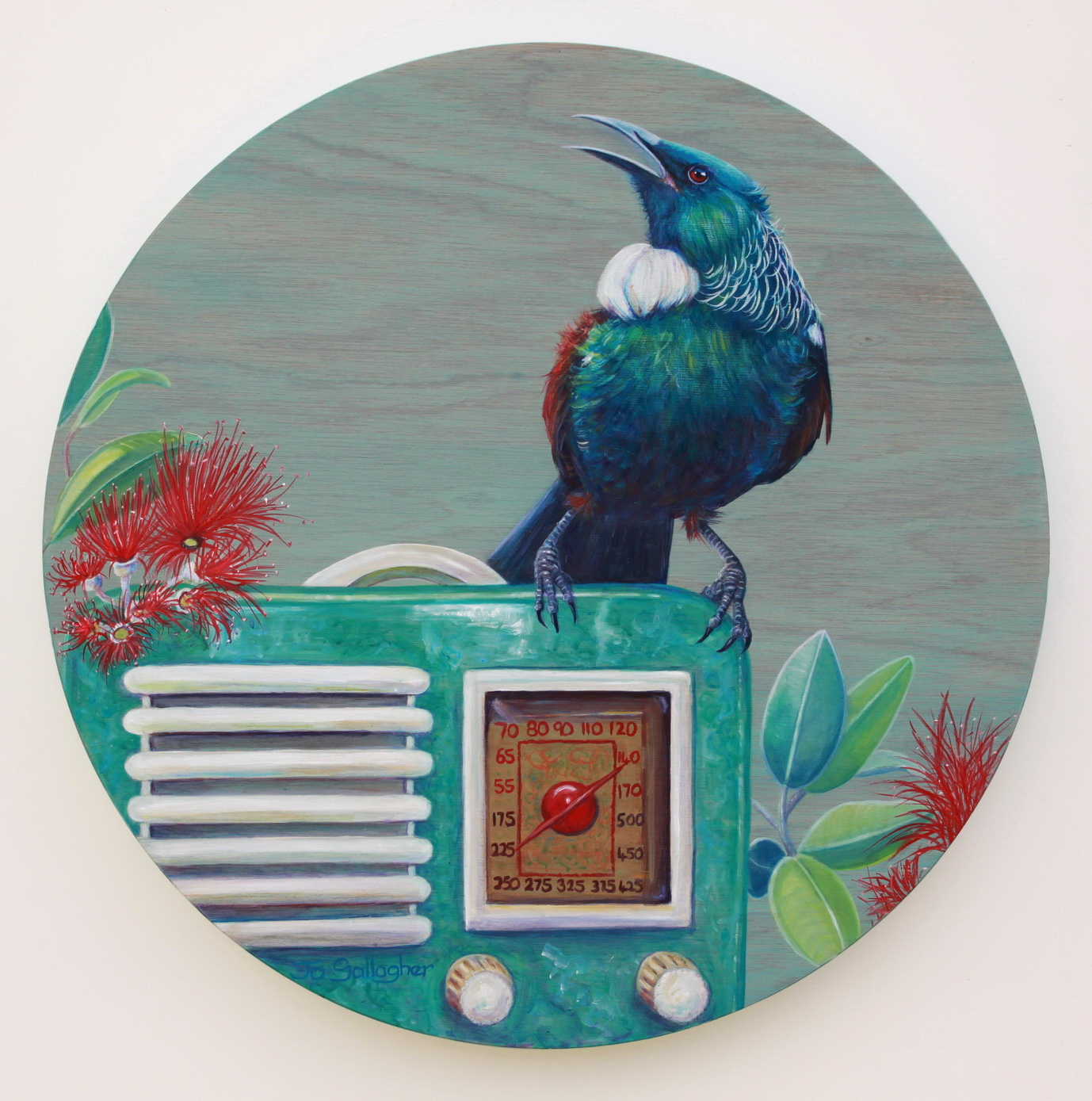 The NZ Song Bird 500mm acrylic on plywood board SOLD
