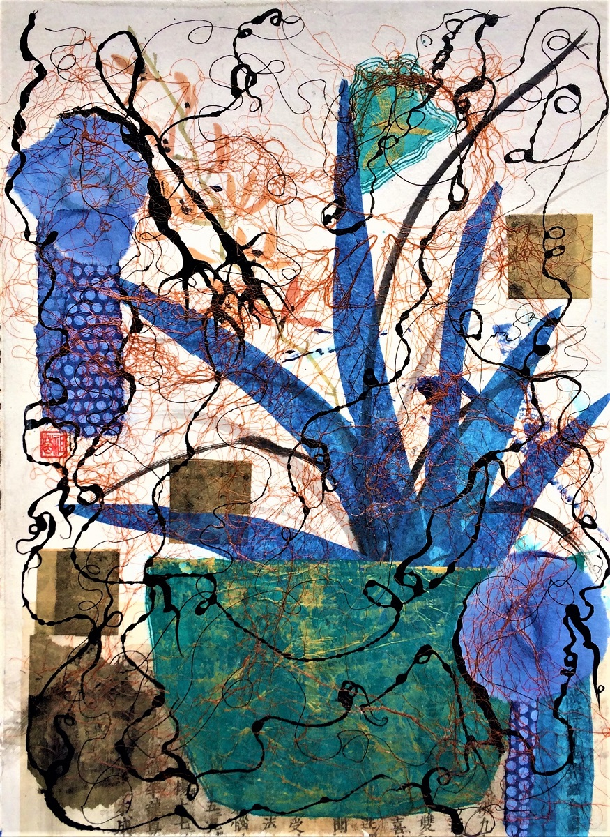 <strong>Through The Tangles of Time<strong> Mixed Media and Collage Framed 770mm H x 620mm W  - wide 90mm white frame $650