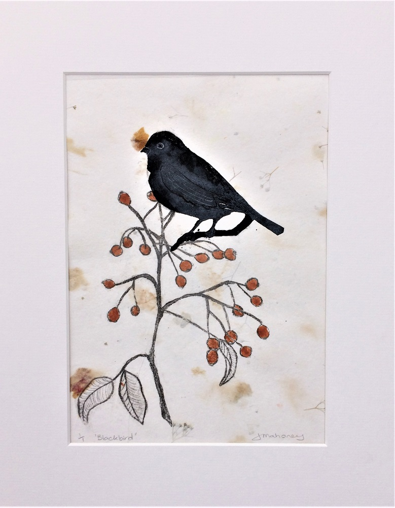 <strong>Blackbird 1/1<strong> Dry point & Collagraph Print 380mm H x 305mm W - Framed