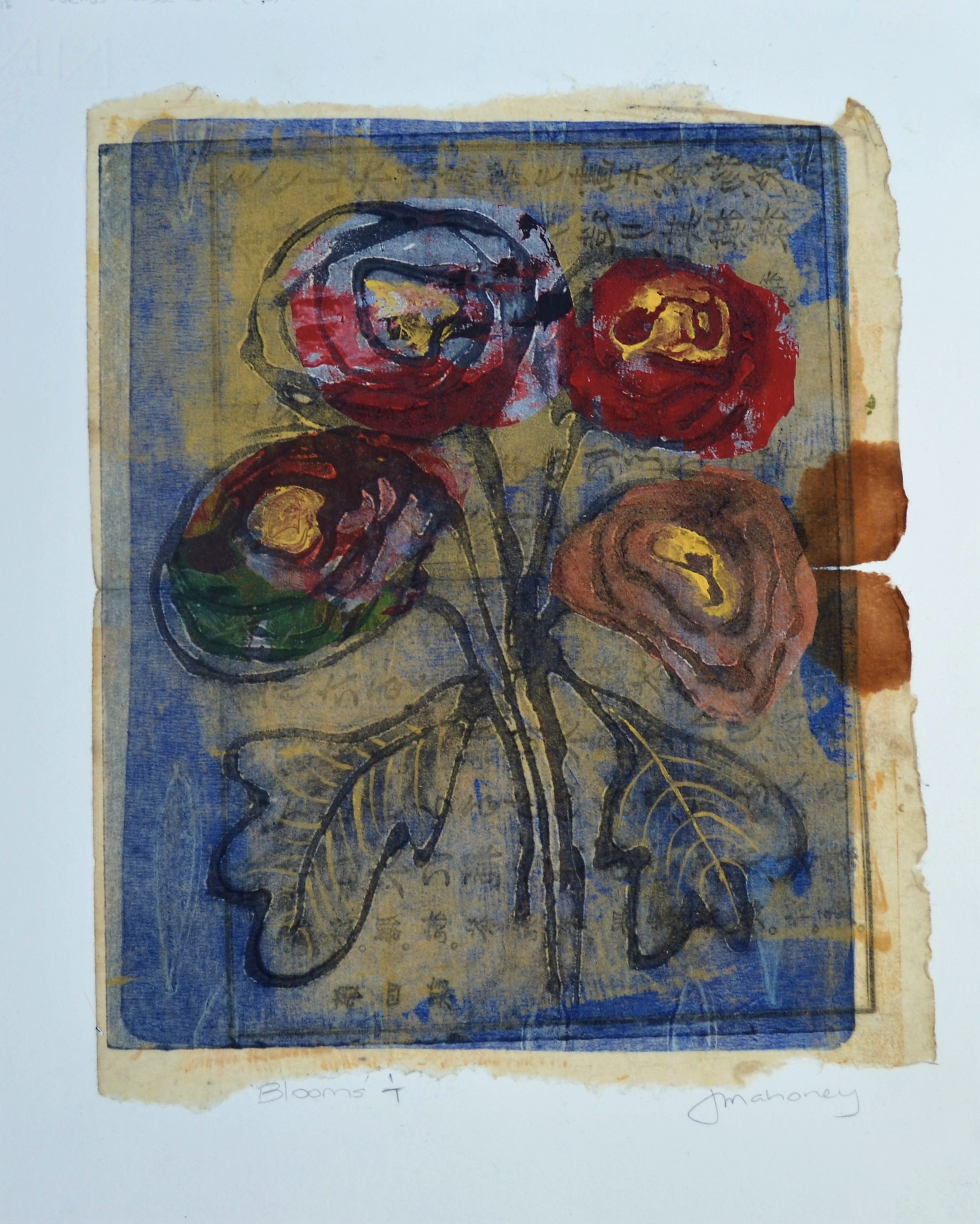 <strong>Blooms 1/7 VE<strong> Collagraph & Chine Colle  430mm H x 330 W -  SOLD