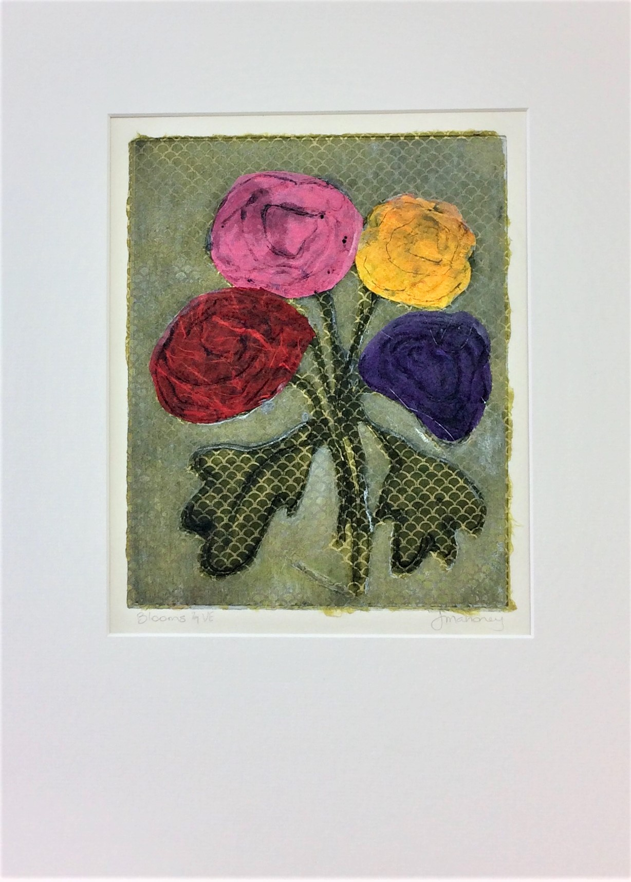 <strong>Blooms 2/7 VE<strong> Collagraph & Chine Colle 430mm H x 330mm W -   $150 SOLD