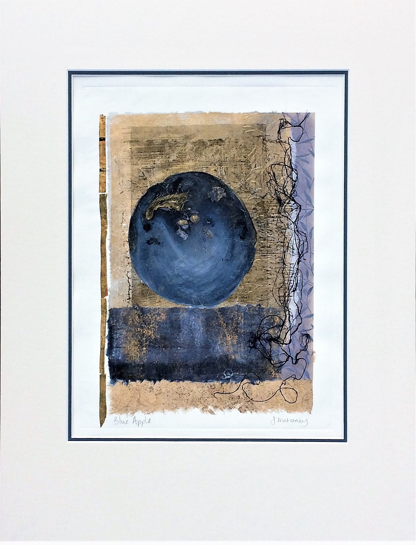 <strong>Blue Apple<strong> Mixed Media with Chine Colle 630mm H x 480mm W - Framed