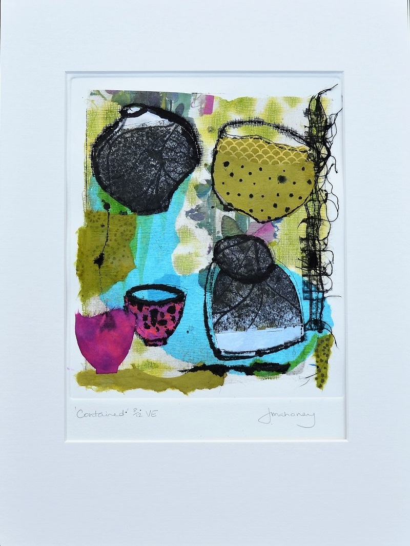 <strong>Contained 8/12 VE<strong> Chine Colle & Mixed Media 430mm H x 330mm W - Framed $350 SOLD