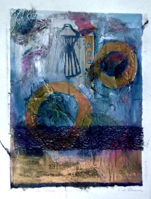 Dressmakers Circle Colograph - mixed media? Kay de Blaauw Size 33 x 44 cm
