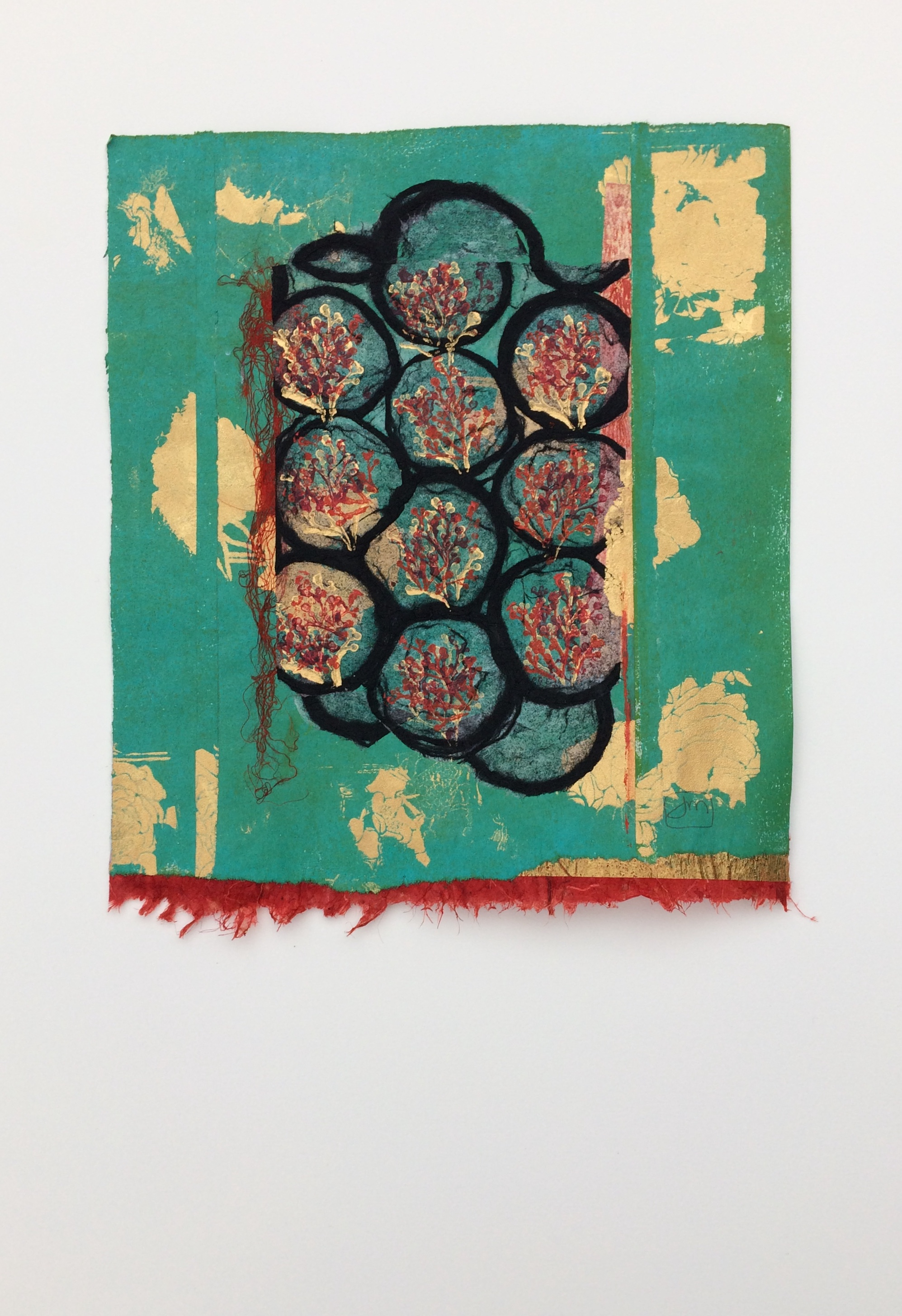 <strong>Baubles & Berries<strong> Chine Colle on hand printed paper. Framed - $650