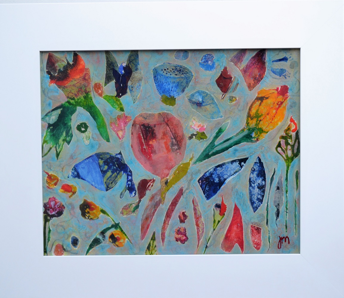 Floral Fragments Mixed Media Framed  505mm H x 705mm  W SOLD