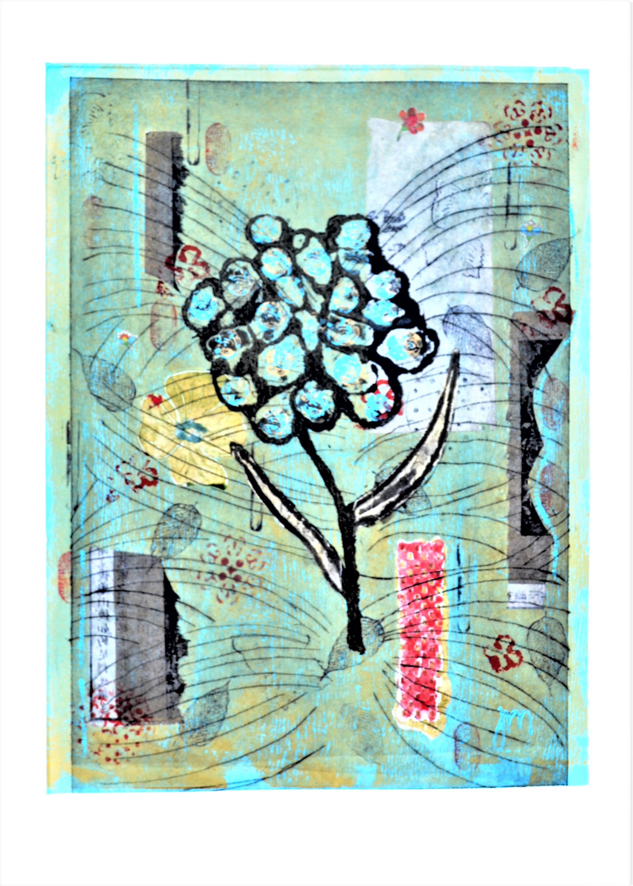 <strong>Memories<strong> Dry point, Chine Colle and Mixed Media Monoprint Framed - 660mm H x 530mm W x 40mm $450