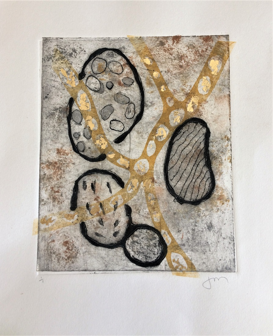 <strong>Untitled<strong> 3 Plate Print Framed with wide mat & natural wood frame SOLD