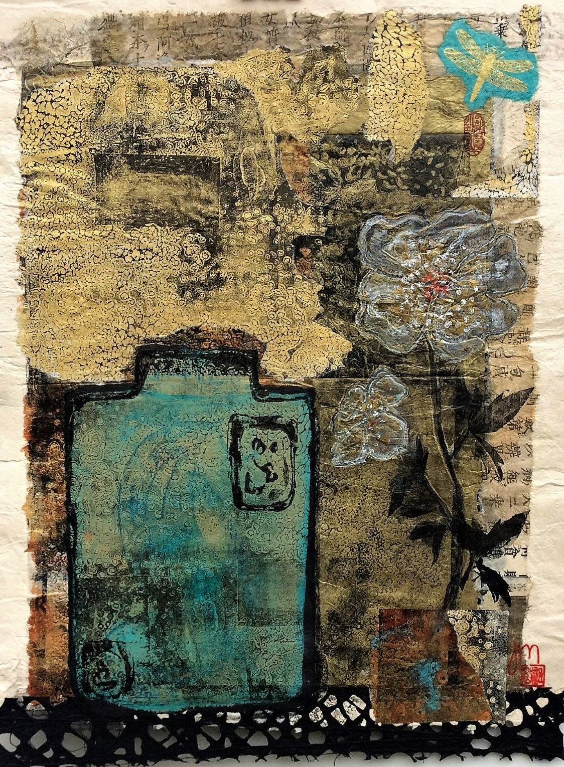 <strong>Ginger Jar & A dragonfly<strong> Mixed Media Framed - floated on white mat board with a white frame SOLD