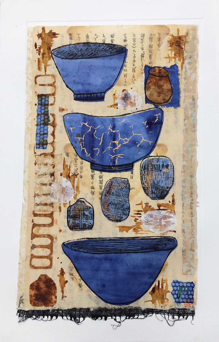 Three Blue Bowls Mixed media using drypoint, collage and chine colle Framed       SOLD