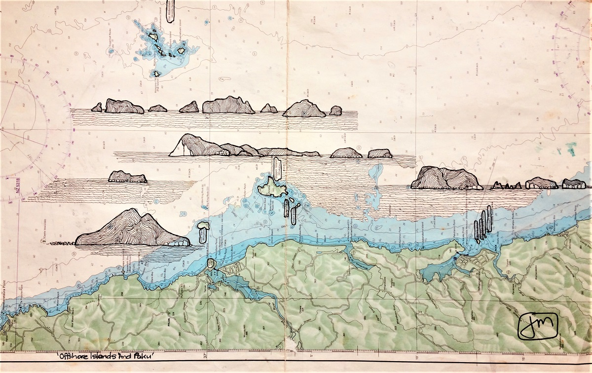 Offshore Islands & Paku Ink drawing on marine chart Framed - 500mmH x 700mmW SOLD