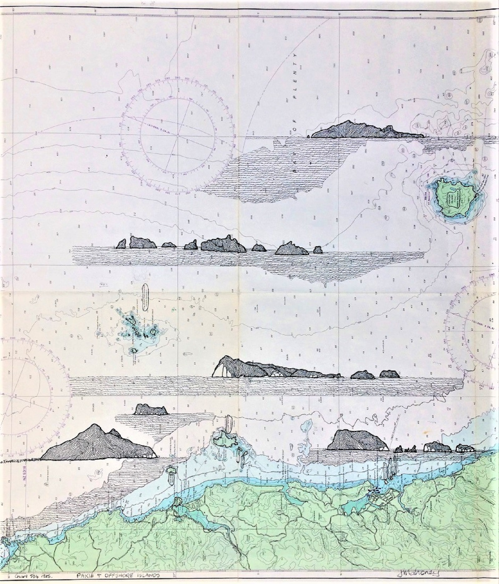 Offshore Islands & Paku Ink drawing on Marine Chart 534 Framed  - 820mmH x 680mmW SOLD