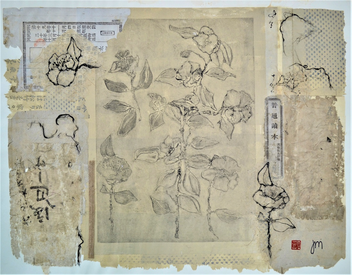 Camellia Collection Mixed media with dry point print. 750mm H x 880mm W Framed    SOLD