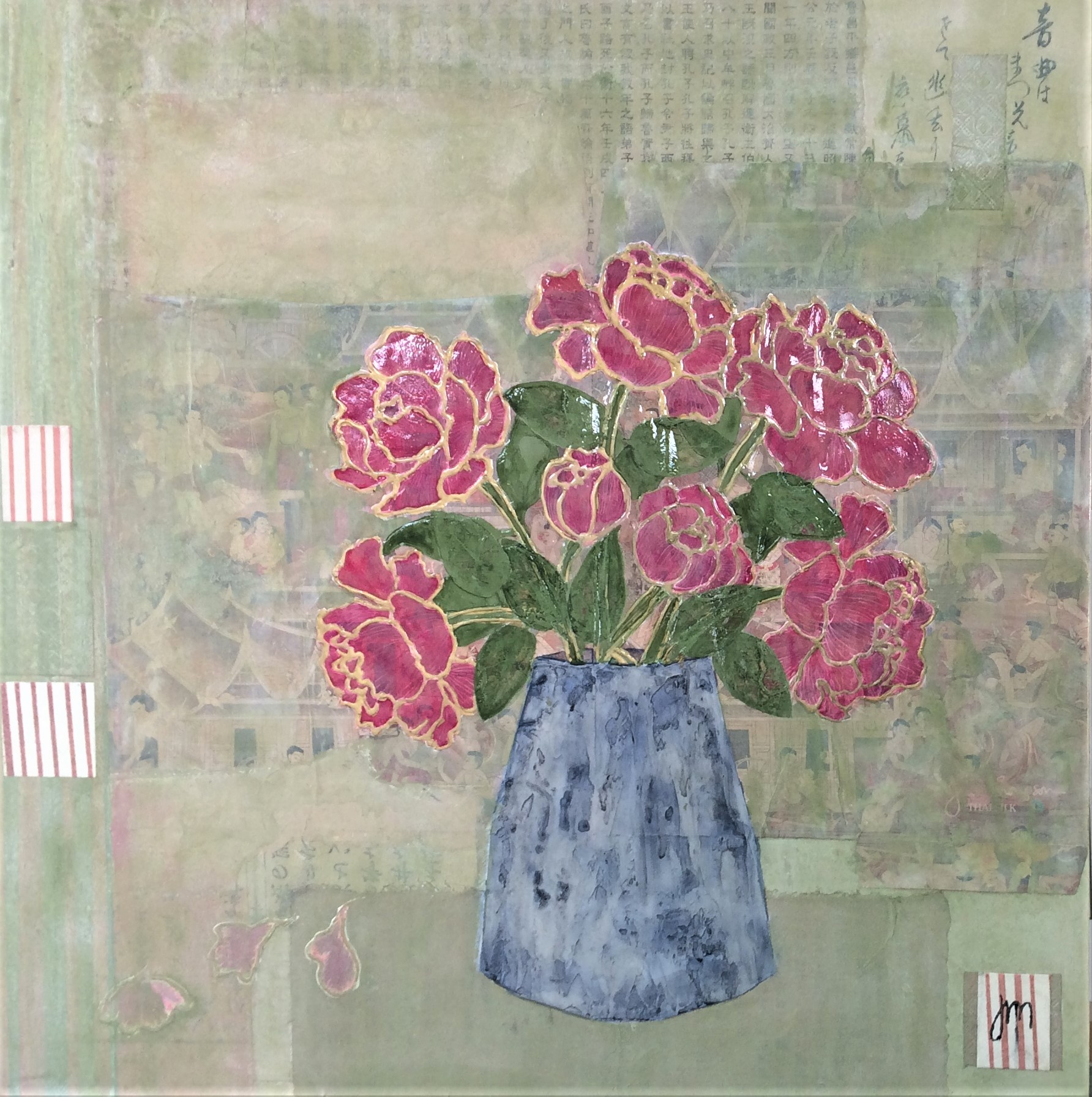 Peonies Mixed Media on board Framed in a wide white frame. 800mm x 800mm