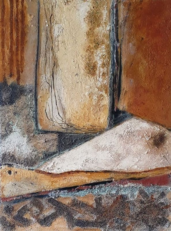 Impact Coromandel earth pigments. Copper &  rust inks on wood ply cradleboard 580w x 780h  $690