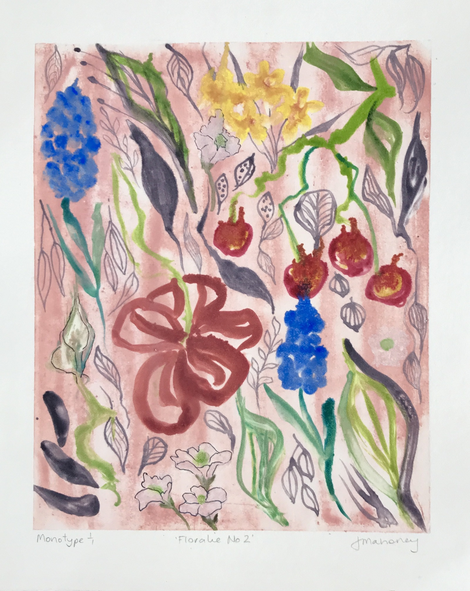 Floralie No2 Monotype print 1/1 Watercolour Framed