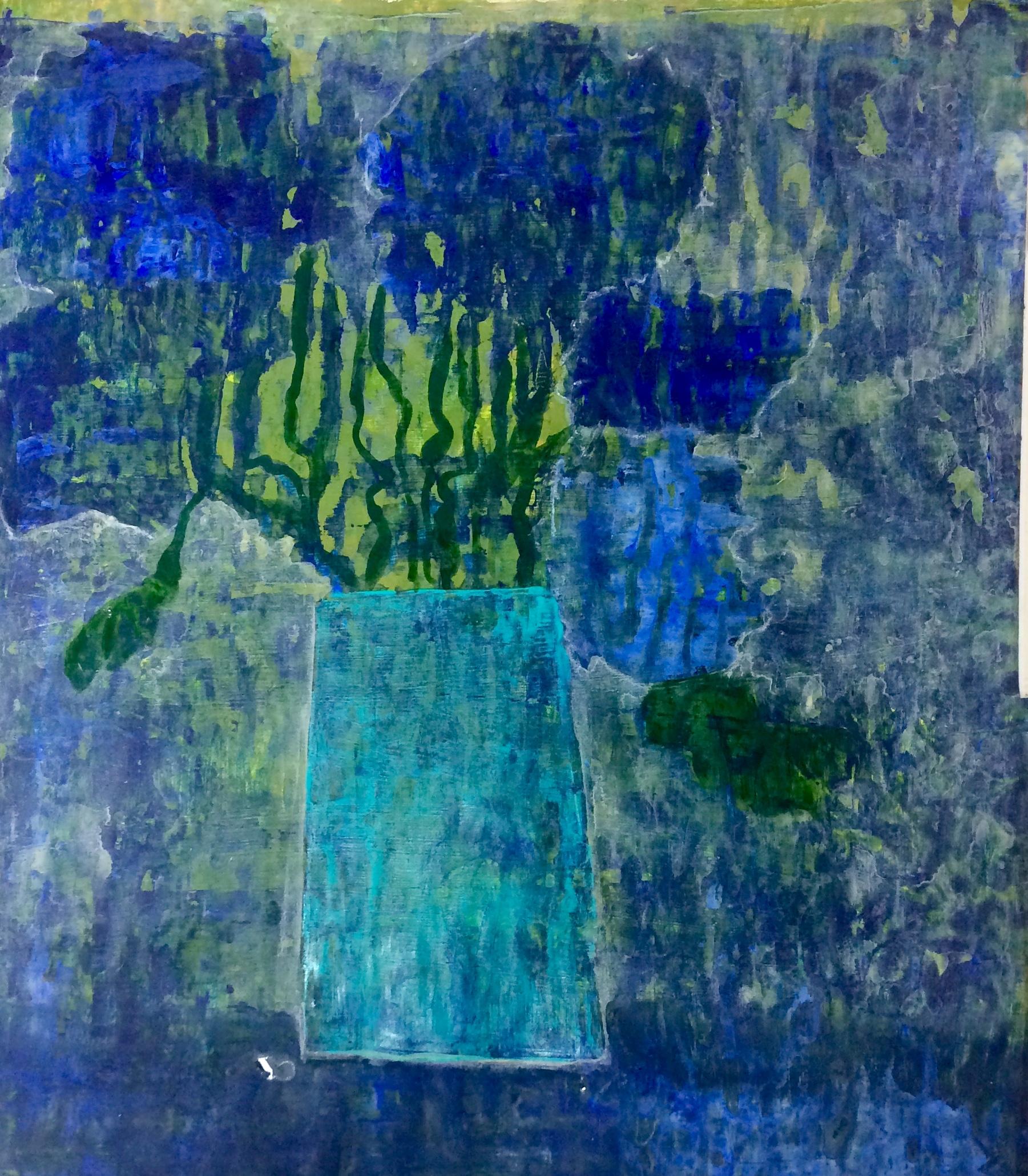 Floral Blues Acrylics on paper Framed SOLD