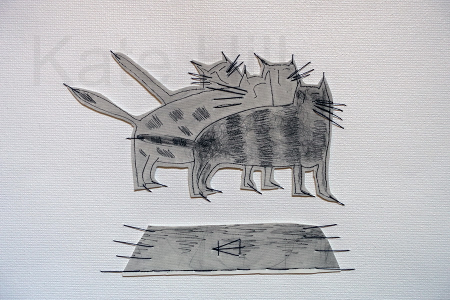 4 Cats and one Mat Stitched Monoprint     SOLD