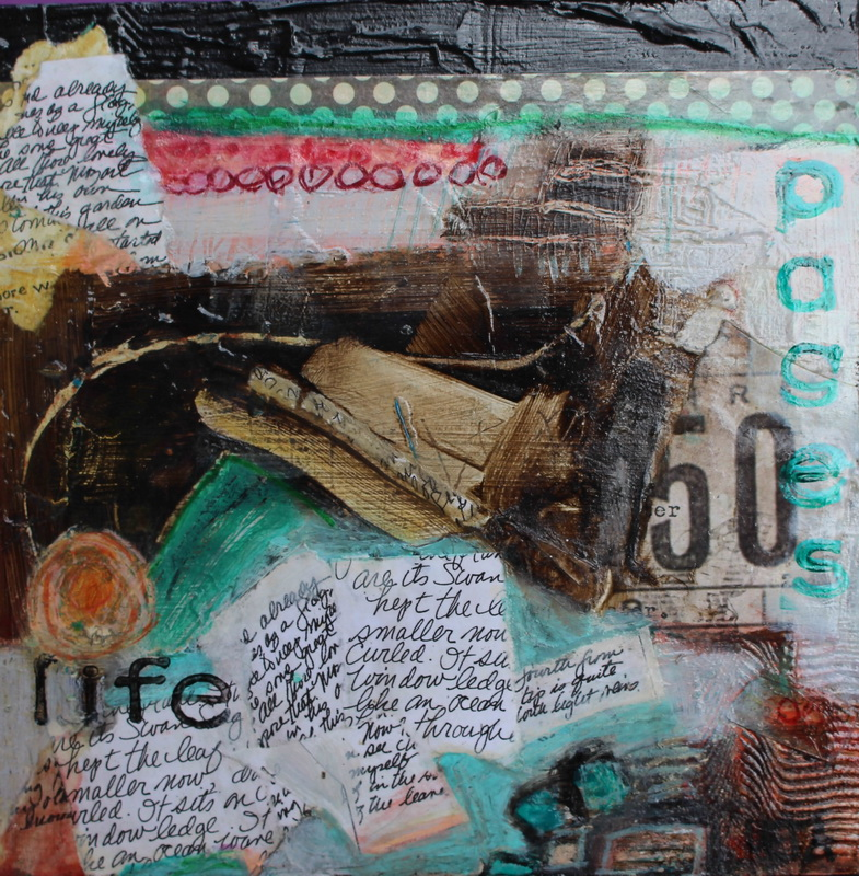 50 pages of life 200x200 Mixed Media on hardboard $250